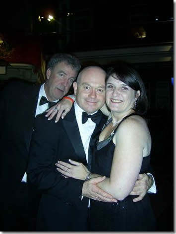 Lucy Aldridge with Ross Kemp and Jeremy Clarkson